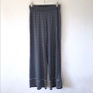 Max Studio Blue Printed Wide leg flowy Pants